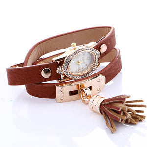 Stylish simplicity Chimes Leather Bracelet Lady Womans Wrist Watch - Always Happy Shopping