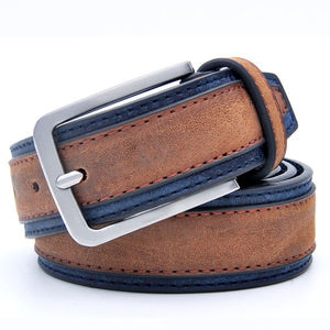 Casual men's classic belt made of genuine leather with edging - Always Happy Shopping