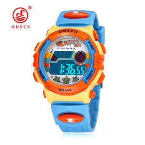 OHSEN  Digital Quartz Watch Children Boy  Waterproof LCD Backlight Alarm Clock - Always Happy Shopping