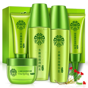 5pcs OneSpring Natural Face Care Makeup Set Toner Cream Set Eye Essence Cream BB Cream Moisturizing Ageless Hydrating Travel Kit - Always Happy Shopping