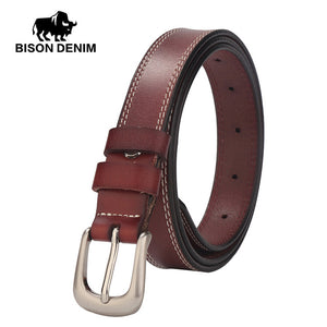 Women's Classic Dress Leather Belt, genuine leather, Regular Big & Tall Sizes - Always Happy Shopping