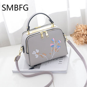 Floral Embroidery Women Leather Handbag Flap - Always Happy Shopping