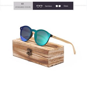 Fashionable Unisex Sunglasses in a Bamboo Frame in a Wooden Box - Always Happy Shopping