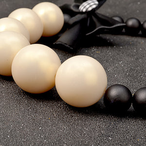 "Vintage female necklace made of wood ""Pearl"" - Always Happy Shopping"
