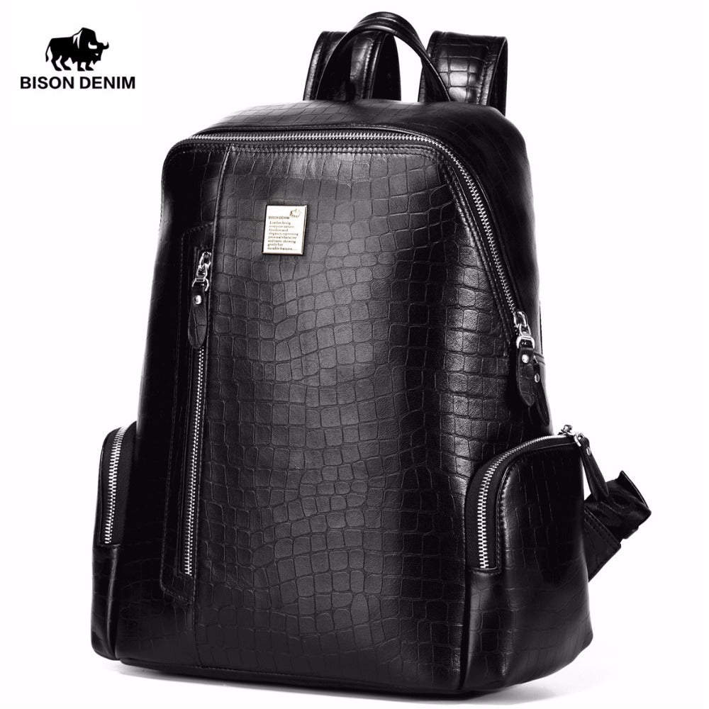 Male backpack for laptop from genuine leather - Always Happy Shopping