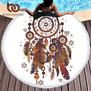 "Round beach towel ""Peacock"" - Always Happy Shopping"