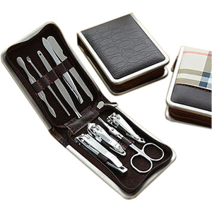 9pcs/set Stainless Steel Nail Art Tools  with PU Leather Case - Always Happy Shopping