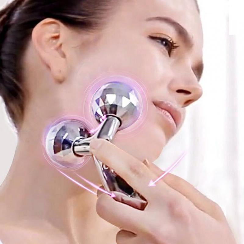 3D Roller Massager 360 Rotate Silver Thin Face Full Body Shape Massager Lifting - Always Happy Shopping