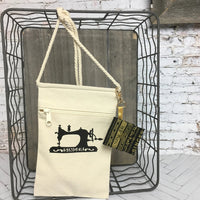 Canvas Crossbody Bag with Sewing Machine Silhouette