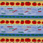 Clothworks Funky Kitchen Striped Vegetables Blue