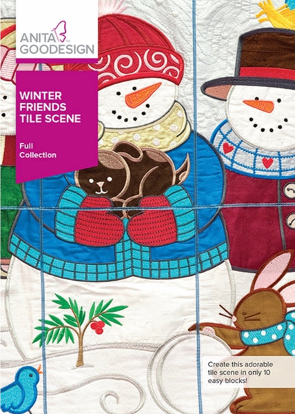 Anita Goodesign Winter Friends Tile Scene