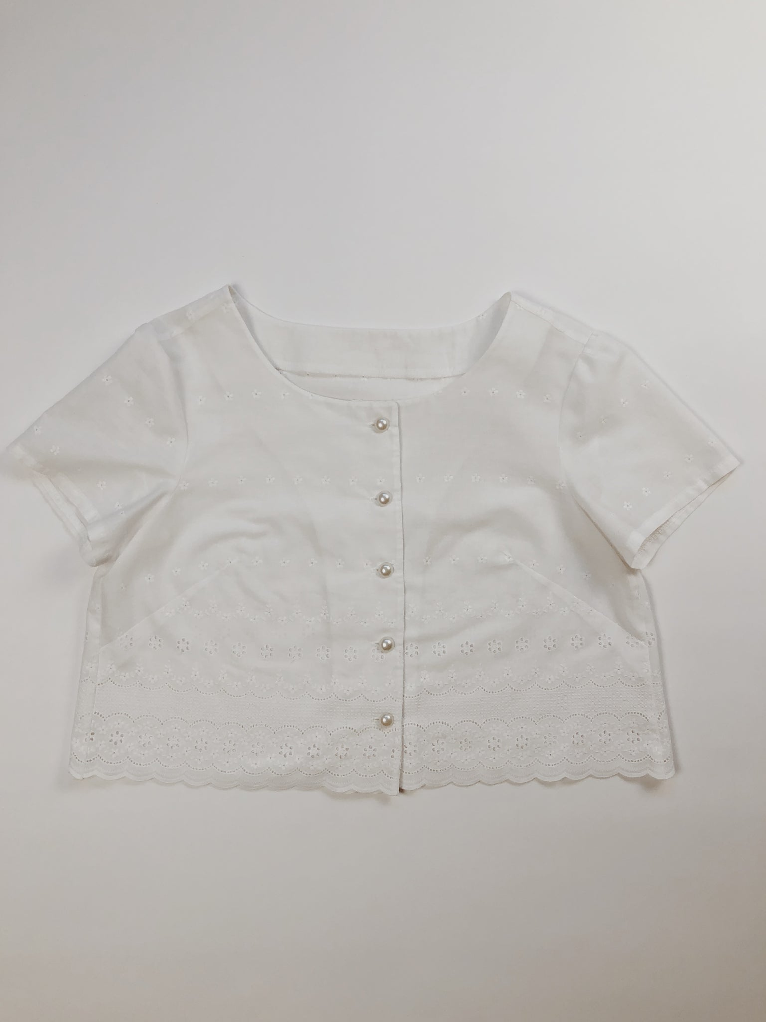 Cropped Eyelet Blouse