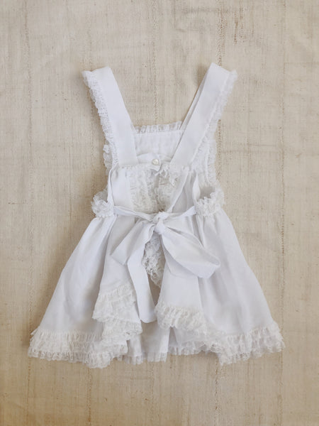 White Cotton Apron Dress - Size 18-24m