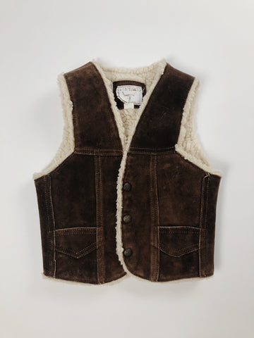 Leather Sherpa Vest - Size 5