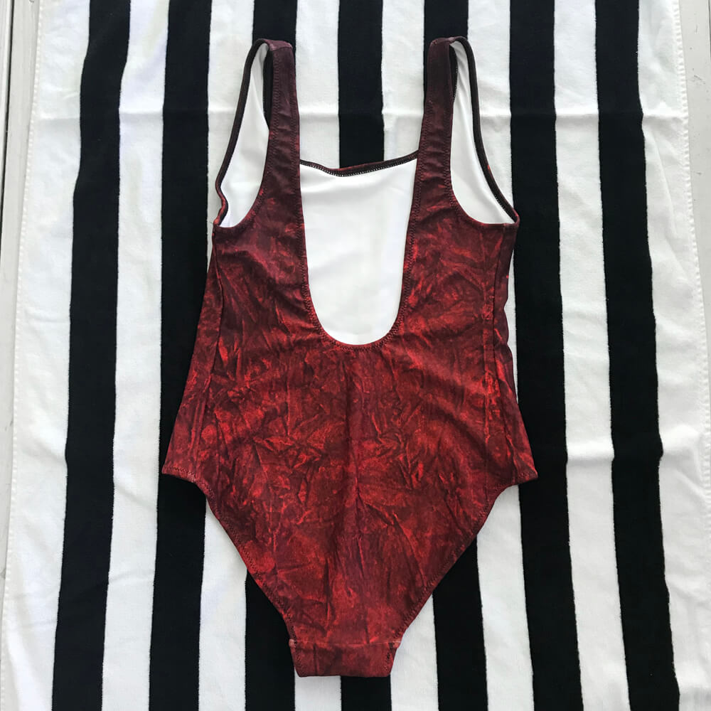 752afe5f81f6f Crushed Red Velvet Print One-Piece Swimsuit - Back - Goths Goths Goths