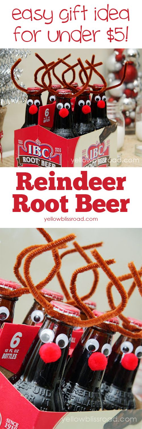 stocking stuffer DIY for kids reindeer root beer bottles
