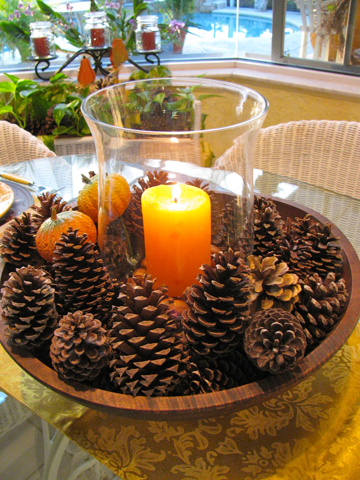 Pinecone candle decor