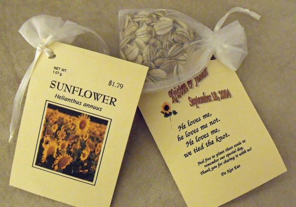 Sunflower seed wedding favors