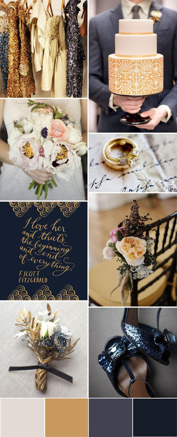 Navy and gold color palette