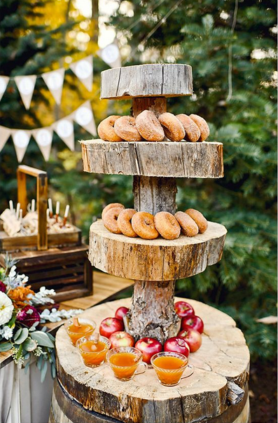 Welcome stand with donuts and cider