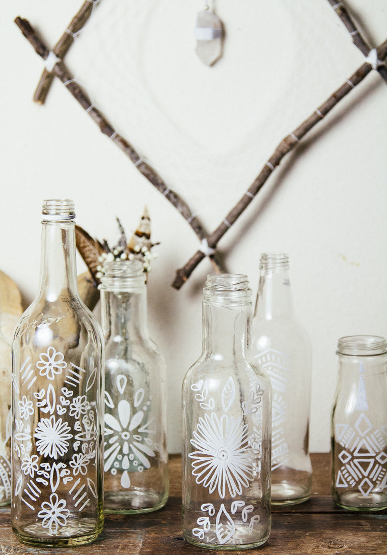 White painted vases