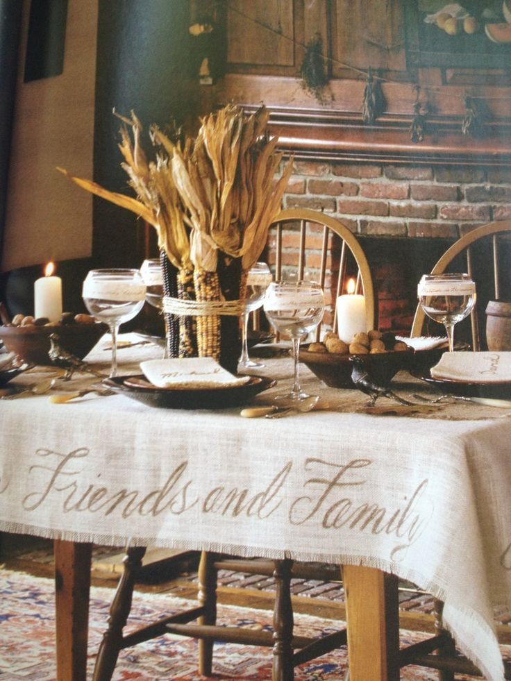 Corn husk table setting