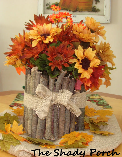 Flowers and twig centerpiece