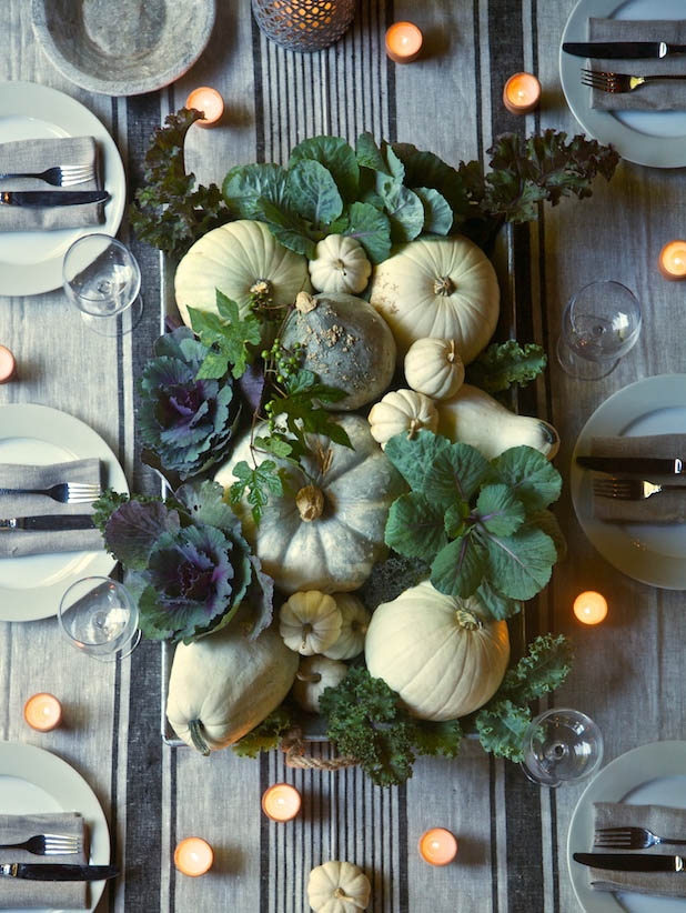 Green pumpkin table decor