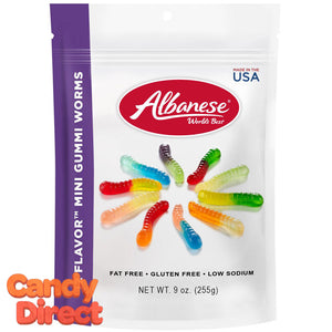 12-Flavor Gummy Mini Worms 9oz - 6ct Peg Bags