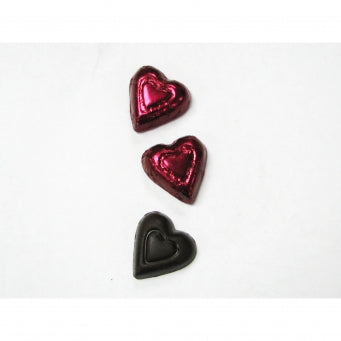 Cabernet Colored Dark Chocolate Hearts - Foil Wrapped 5lb Bag