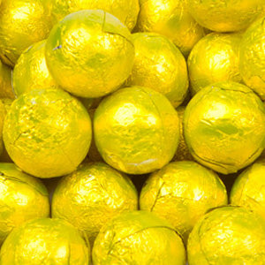 Yellow Milk Chocolate Balls - Foil 10lb