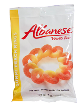 Gummi Peach Rings 7oz Peg Bag - 12ct