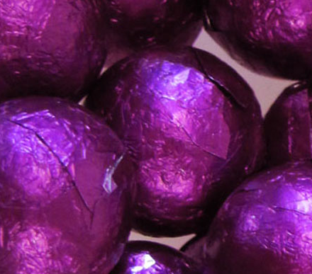 Purple Foiled Chocolate Balls - 10lb