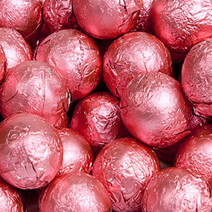 Bright Pink Milk Chocolate Balls - Foil 10lb