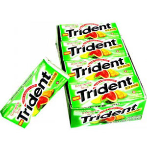 Trident Watermelon Tropical Fruit Layers Sugar Free Gum - 12ct