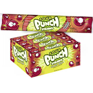 Sour Punch Straws - Cherry 24ct