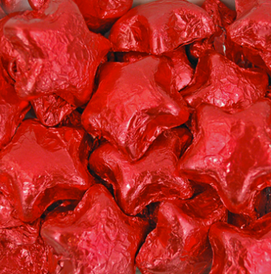Red Foil Milk Chocolate Stars - 5lb