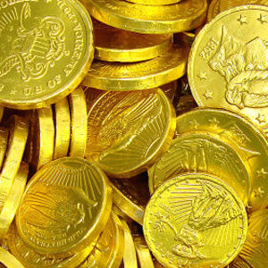 Gold Chocolate Foil Coins Assorted Sizes - 10lb