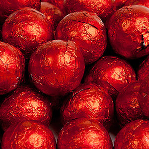Red Milk Chocolate Balls - Foil 10lb