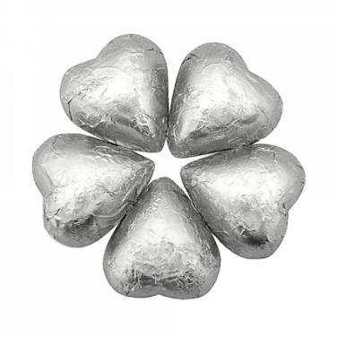 Silver Chocolate Hearts - Foil Wrapped 10lb