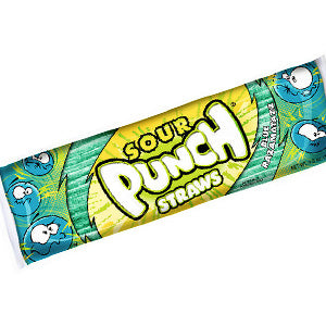 Blue Raspberry Sour Punch Straws - Large 4.5oz Packs 24ct
