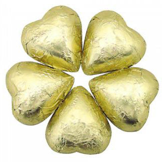 Gold Milk Chocolate Hearts - Foil Wrapped 5lb Bag