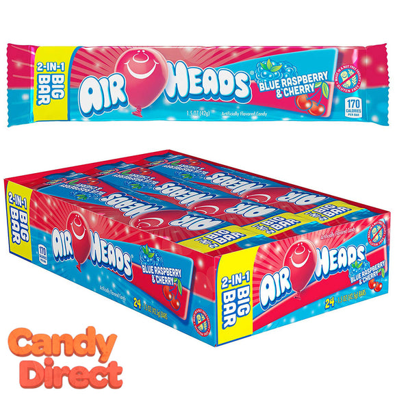 Airheads Candy 2-in-1 Big Bars Blue Raspberry & Cherry - 24ct