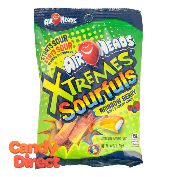 Airheads Xtremes Sourfuls Rainbow Berry Bites 6oz Peg Bag - 12ct