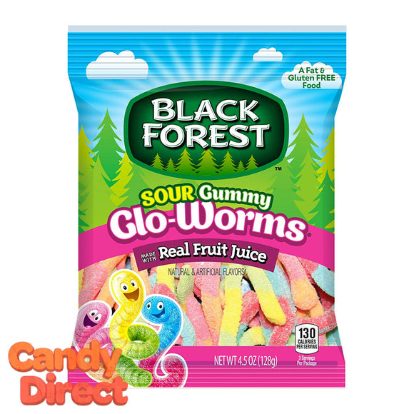 Sour Gummy Glo-Worms Black Forest - 12ct