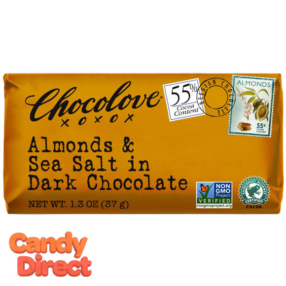 Chocolove Dark Chocolate Almond and Sea Salt Mini Bars - 12ct