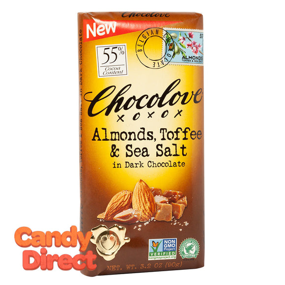 Chocolove Dark Chocolate Almond Toffee And Sea Salt 3.2oz - 12ct