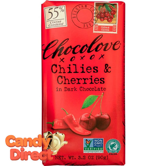 Chocolove Dark Chocolate Chilis and Cherries Bars - 12ct