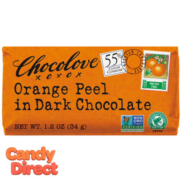 Chocolove Dark Chocolate Orange Peel Mini Bars - 12ct