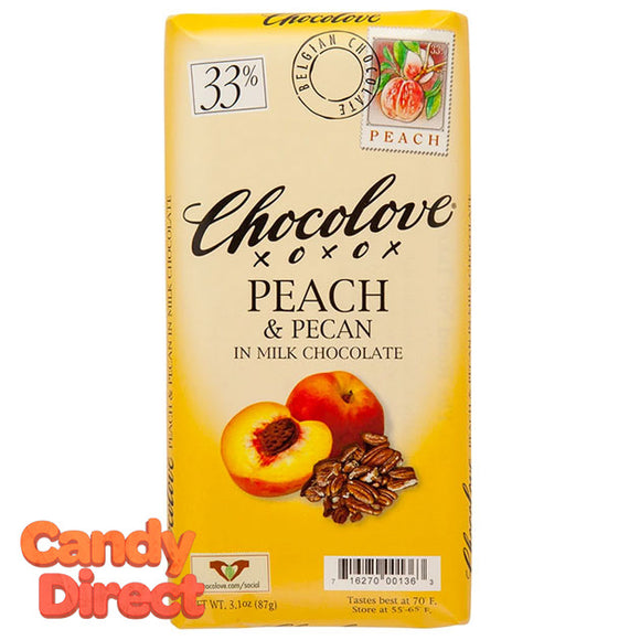 Chocolove Milk Chocolate Peach and Pecan Bars - 12ct